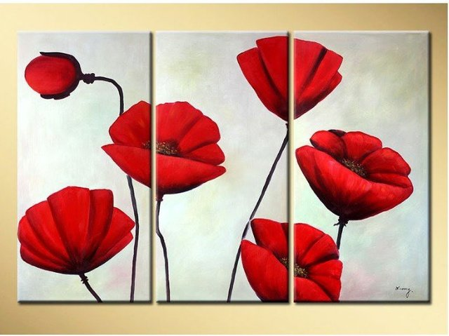handpainted 3 pieces red poppies flowers white background oil ...