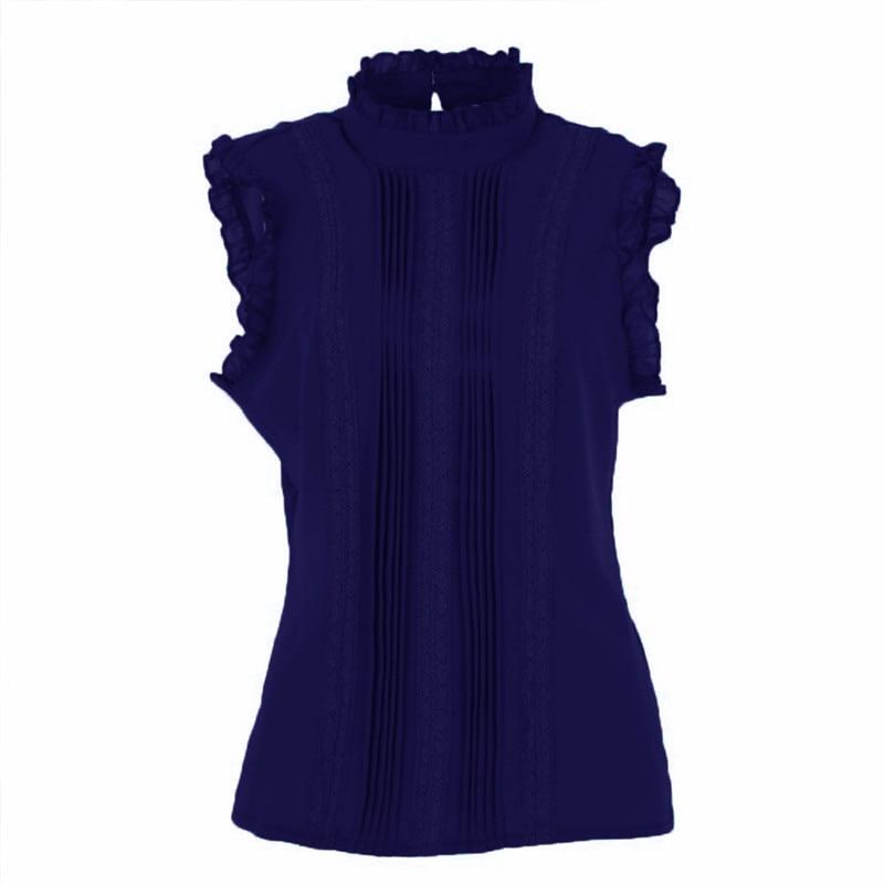 Women Ruffle Stand Collar Slim T-Shirt Tops Lady Casual Lace Sleeveless Shirt Ladies Tee Green/White chiffon 2