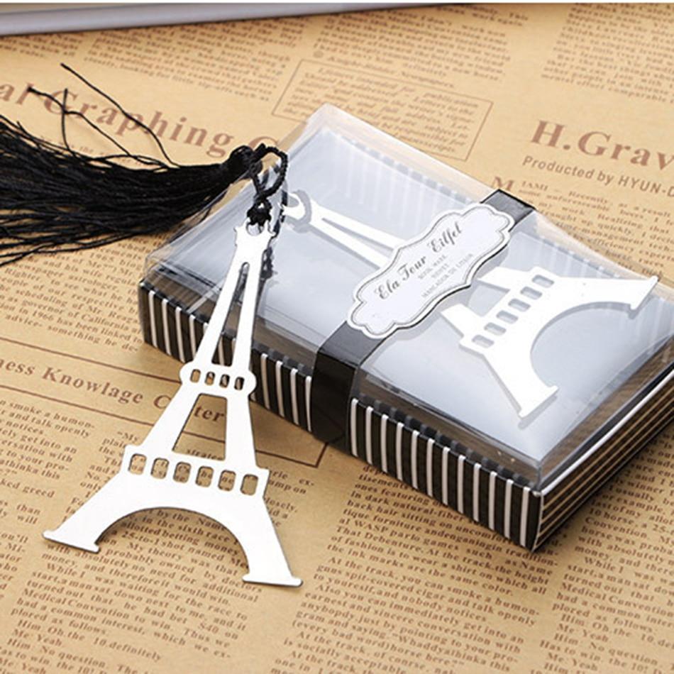 1Box New Hollow Eiffel Tower Bookmarks Metal Mini Greeting Cards Tassels Kawaii Stationery Pendant Gifts Wedding Favors E2063