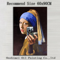 Professional Artist Recreate  Famous Artwork The Lady Take a Photo by Herself Funny Lady Portrait Canvas Oil Painting for Wall