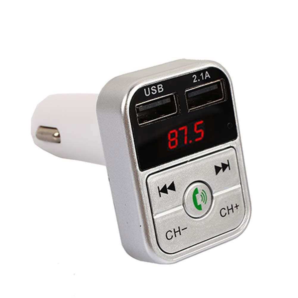 Быстрая зарядка светодиодный цифровой дисплей беспроводной Bluetooth приемник Bluetooth аудио ресивер FM-автомобильное зарядное устройство Универсальный - Формат цифровых медиаданных: silvery