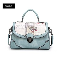 GLHGJP Fashion Printing Women Handbag PU Leather Female Shoulder Crossbody Bag Casual Oil Picture Pattern Messenger