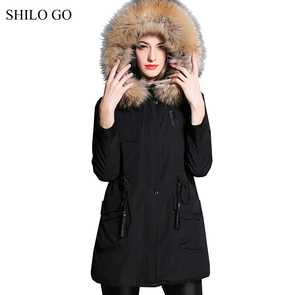 2XL New Womens Winter Black Army Green Jacket Coats Thick Parkas Plus Size Real Raccoon Collar Hooded Rabbit Outwear Fur Coat children army coat kids real raccoon collar fur jacket outdoor parkas army green rex rabbit fur hooded jacket for girl