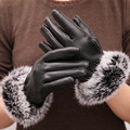 Winter Season Women High Quality PU Gloves Soft with Rabbit Hair Fur Warm Phone Screen Touch Wrist Gloves Mittens Hot sale H208