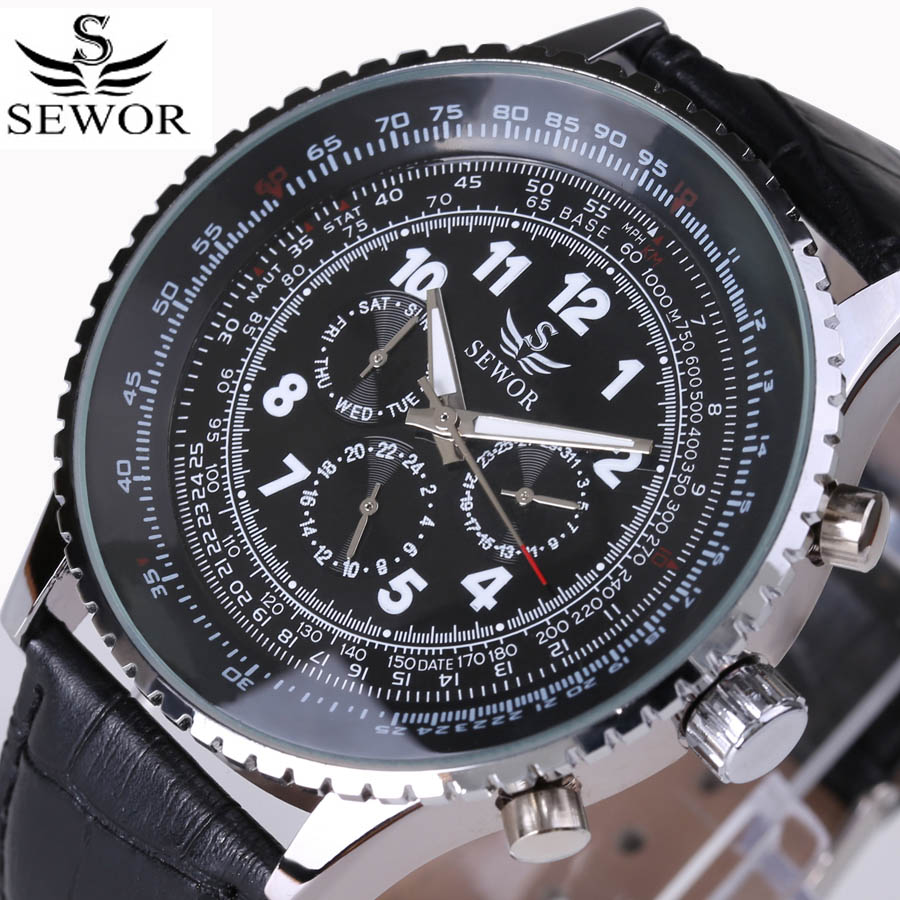 2018 SEWOR Mens Black Dial Self-wind  Watch Automatic Mechanical Wristwatch PU Leather Watchband hours Week Calendar Display2018 SEWOR Mens Black Dial Self-wind  Watch Automatic Mechanical Wristwatch PU Leather Watchband hours Week Calendar Display