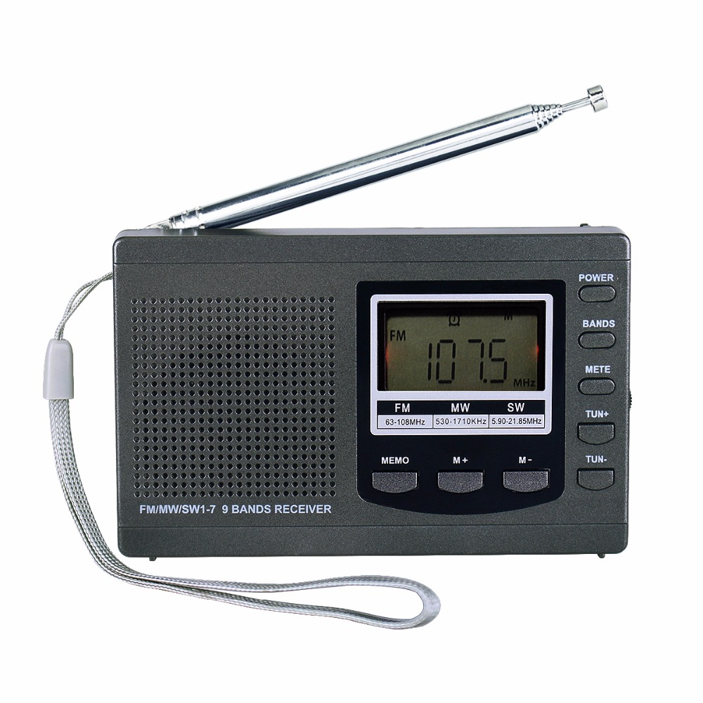 DSP Portable Radio Emergency Mini Stereo FM Broadcasting Player FM MW SW 9 Bands Receiver With Digital Alarm Clock Y4408H