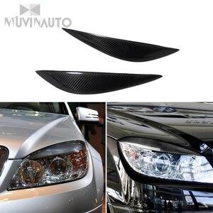 Carbon Fiber Car Front Scheinwerfer Augenbrauen Augenlider For Mercedes For Mercedes Benz W204 C180 C200 C300 C350 C63 2008 Body Kits     -