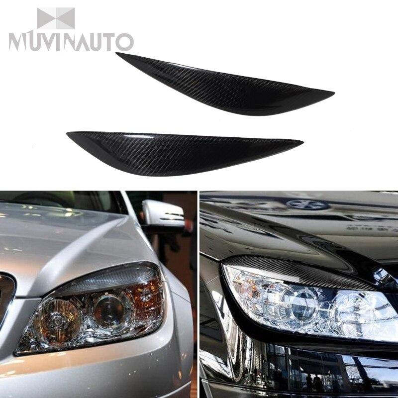 Carbon Fiber Car Front Scheinwerfer Augenbrauen Augenlider Für Mercedes Für Mercedes Benz W204 C180 C200 C300 C350 C63 2008