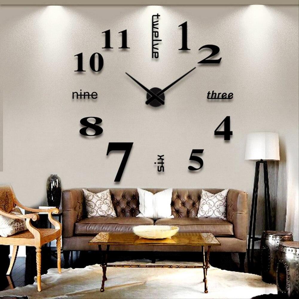 1 unid decoración del hogar espejo de pared grande reloj moderno reloj diseño 3D DIY de pared Relojes de pared reloj de regalo