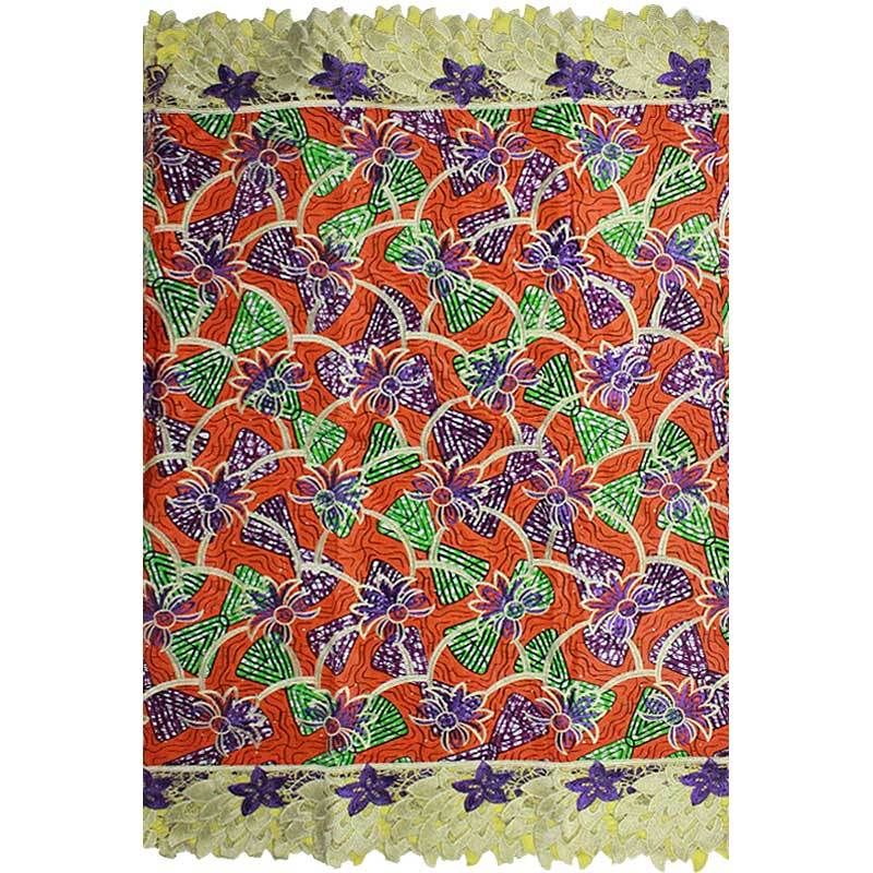 Wax Prints With Lace For Nigerian Embroidery Fabric Factory Price Hojilou African