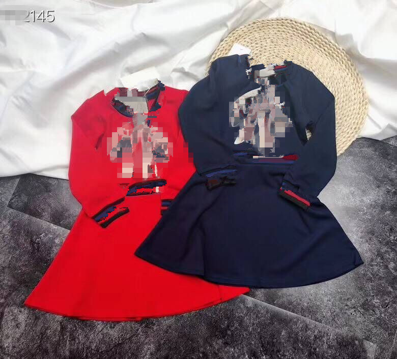 retail in stock 2018 Spring Long Sleeve Red&blue Dress for Baby Girls Solid Knitted Princess Bow Dress Party Wedding Girl Dress spring autumn woman dress faux pearl rhinestone beading sleeve cuff knitted dress fashion vintage elastic black red party dress