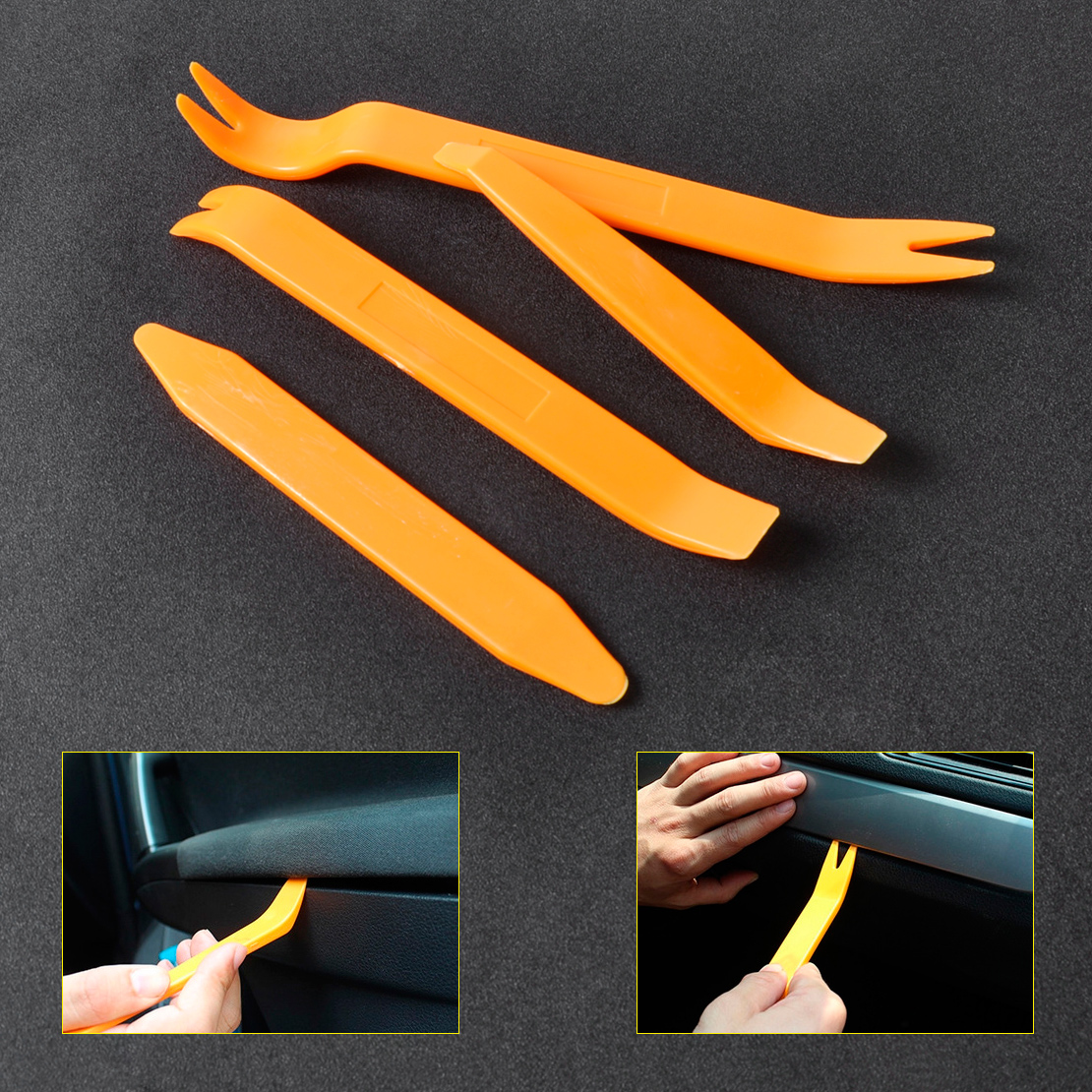 beler 4pcs Plastic Car Door / Radio Trim Panel Molding Removal Double Ended Installer Pry Tools