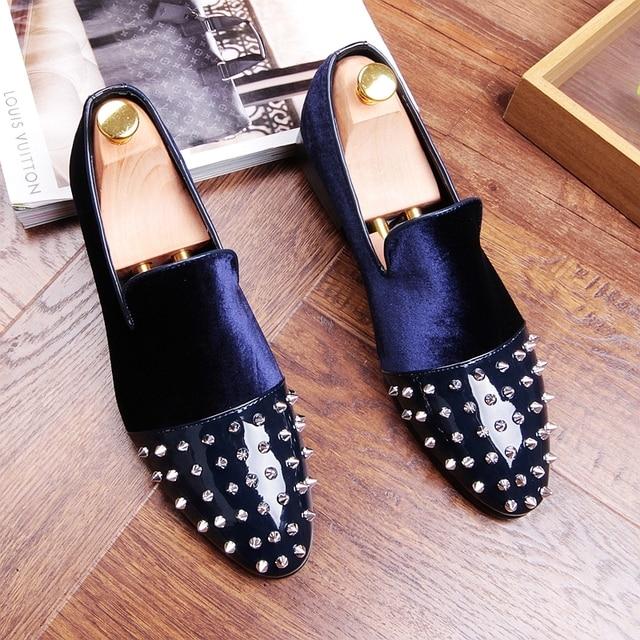 les mocassins rivets glisse glisse rivets sur velours nouveaux souliers plats conduite 4cccd5