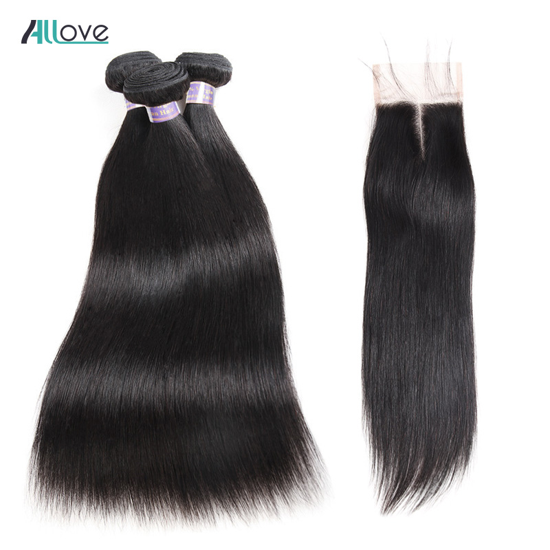 Allove 4PCS LOT Indian Hair Weave 3 Bundles With Closure 4x4 Straight Human Hair Bundles With
