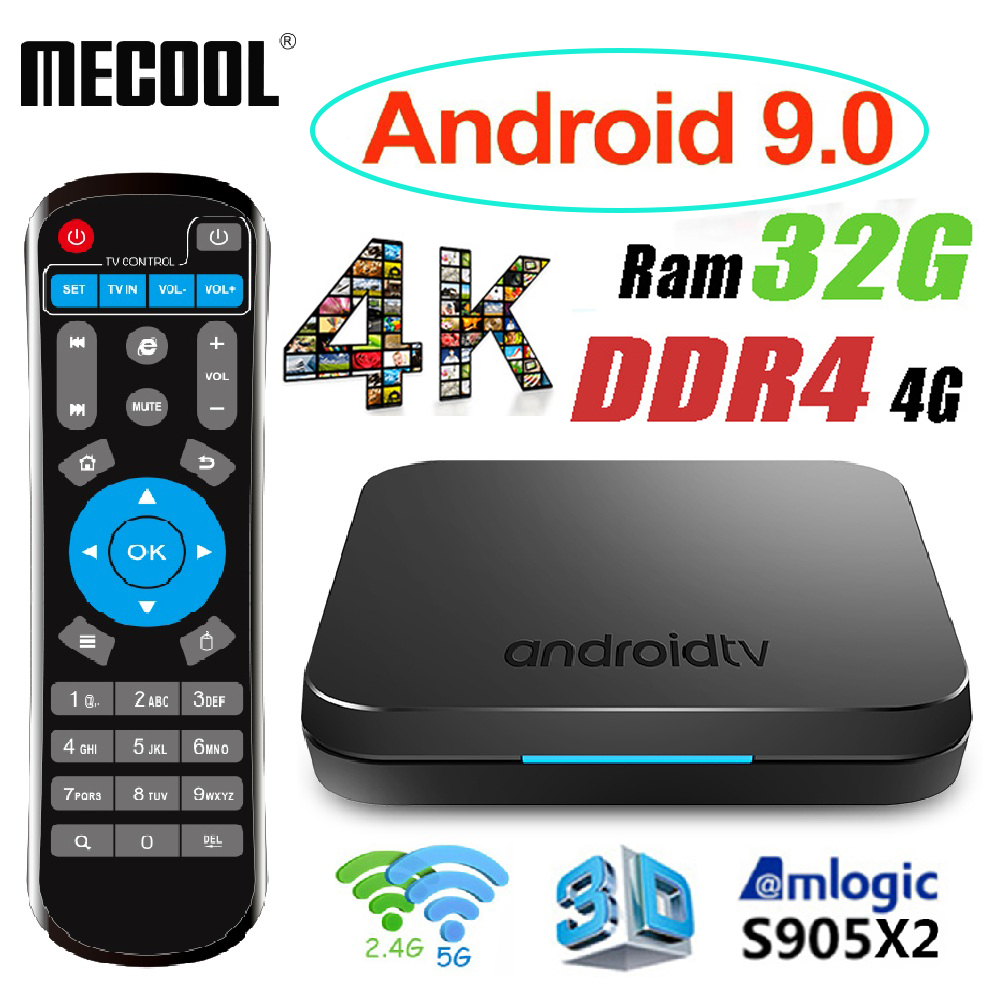 MECOOL KM9 Android 9 TV Box boîtier de smart TV Android 9.0 4G DDR4 32G 64G ROM 2.4G/ 5G WiFi + KM9 TV Box Android 8.1 contrôle vocal