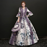 Customized 2018 Marie Antoinette Princess Dresses Christmas Square Neck Half Flare Sleeve Baroque Party Dress Theater Costumes