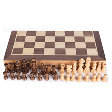 лучшая цена Portable Wooden Magnetic Chessboard Folding Board Chess Game International Chess Set For Party Family Activities
