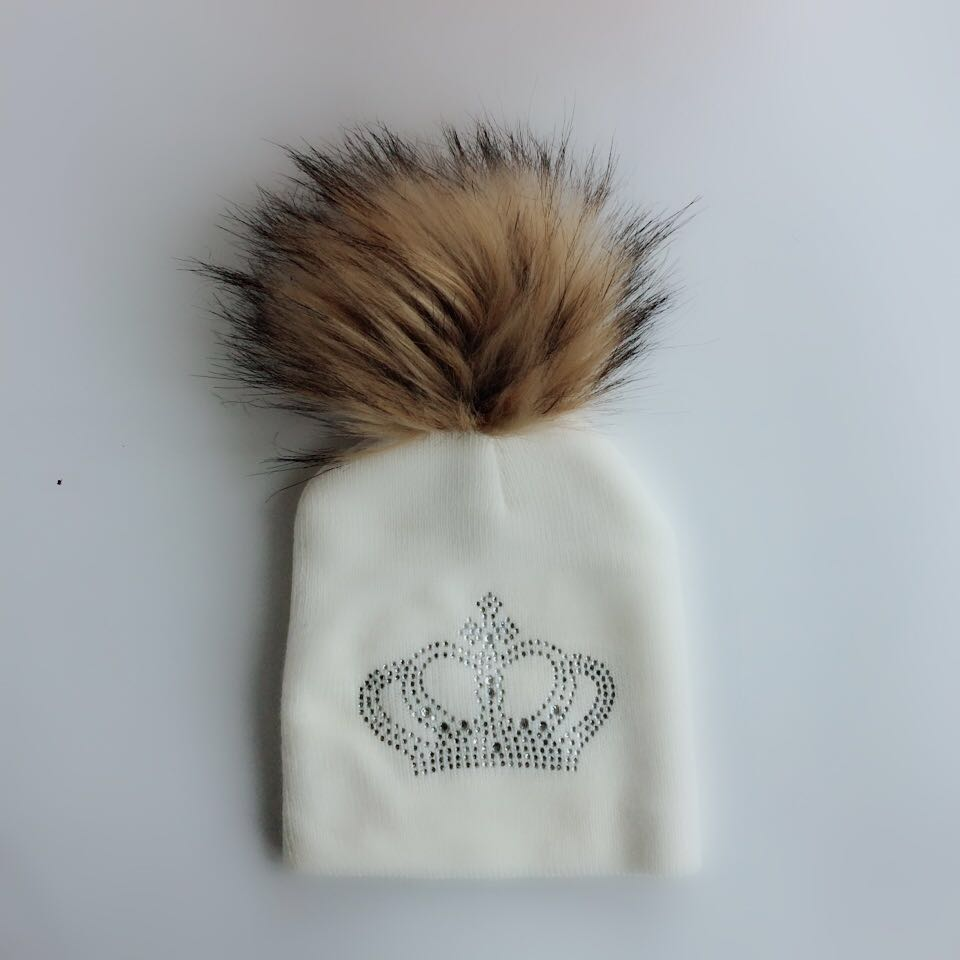 childrens hat cap baby infant toddler prince crown diamond embroidery raccoon Faux Fur pom pom beanie for girl and boys skull