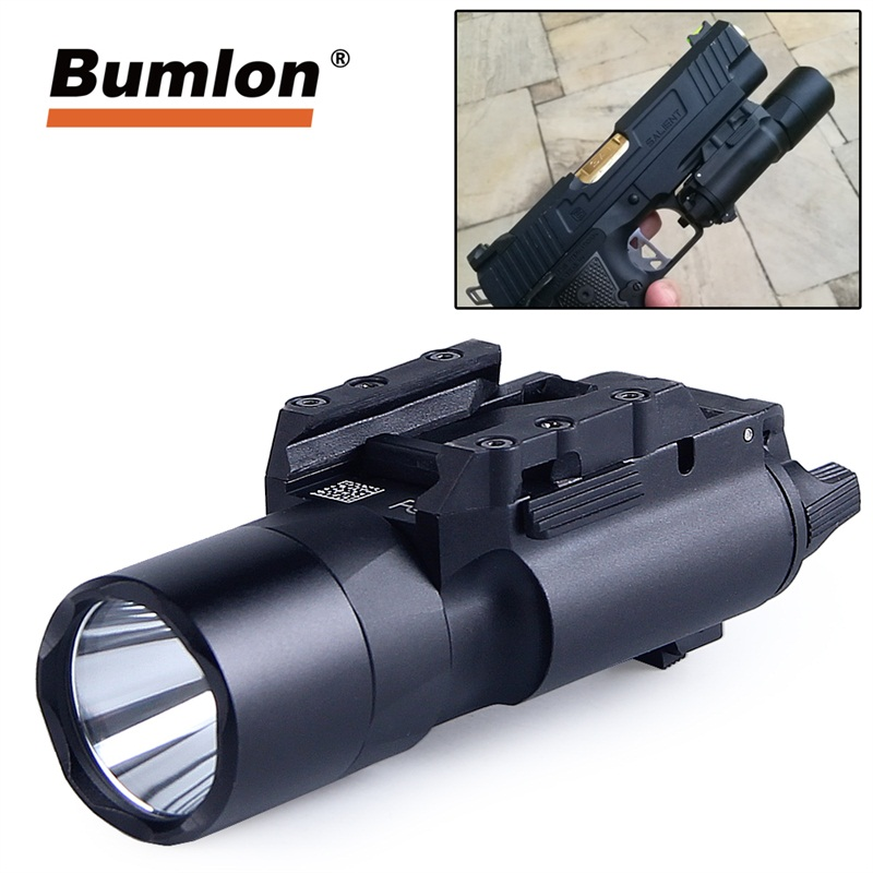 Tactical X300U Ultra Flashlight LED Weapon Pistol Gun Light 500 Lumens High Output with 20MM Rail for Airsoft Hunting 8-0003 red laser sigt 500 lumens military led torch white light tactical weapon flashlight with tail switch for pistol hand gun weapon