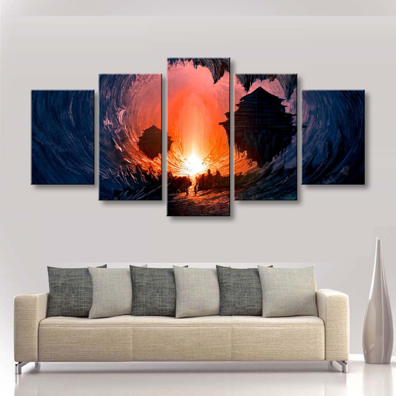 5 pieces high-definition print fantasy Art canvas oil painting poster and wall art living room picture DM-006 (4)