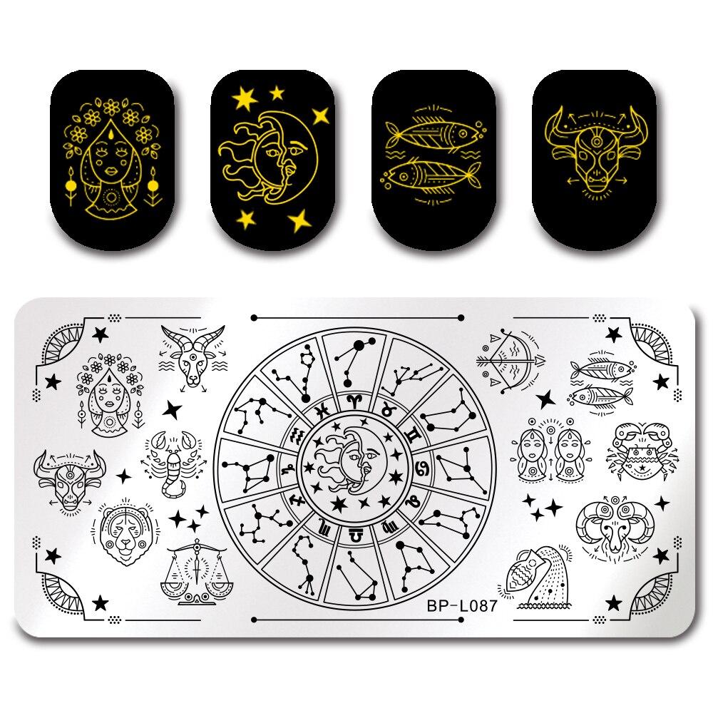 Прямоугольная форма для штамповки ногтей BORN PRETTY, шаблон для штамповки ногтей, созвездие, звезды, рыба, дизайн, изображение, печатная пластин...