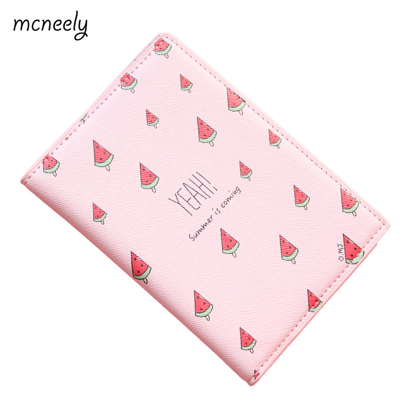 YEAH! Summer is coming! Watermelon Passport Holder PU Leather Pink Thick Travel Passport Cover Size:10*14cm ID Card Holder