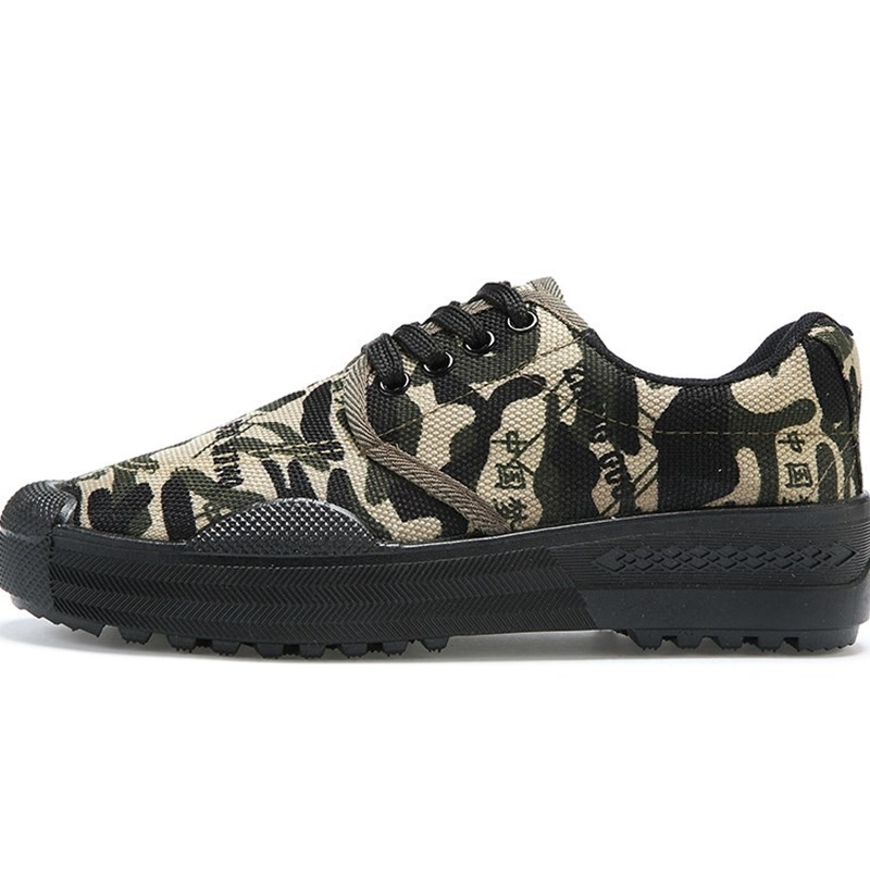 Mens High Top Canvas Army Work Shoes Training Camouflage Liberation Comfy Casual