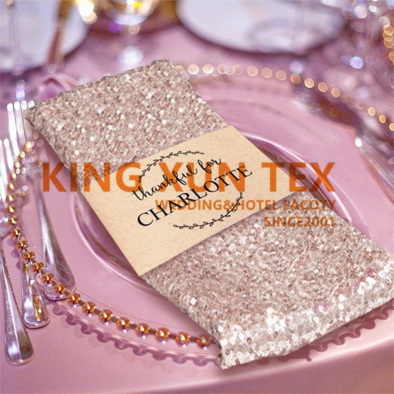 Gold Silver Sequin Table Napkin Table Cloth Napkins For Wedding Event Party Decoration image