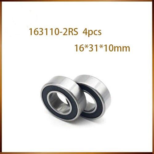 Free Shipping 4pcs/lot 163110-2RS, 6002-2RS Shielding Ball Bearing Bicycle Bearing Axis Flower Drum Bearing 16*31*10mm 163110 2