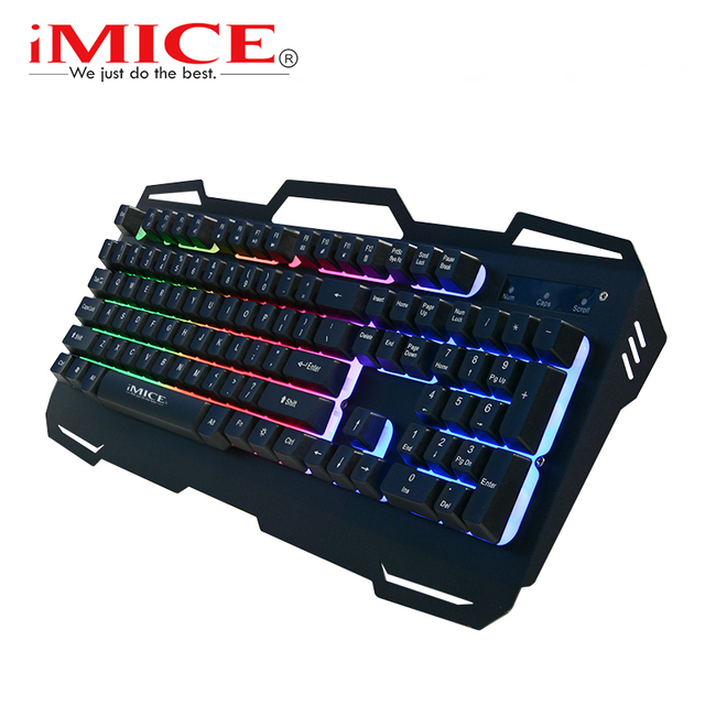 iMice Gaming Keyboard Wired USB Gamer Keyboards 104 Keys Metal Panel Floating Backlit Keyboard With Game Mechanical Feel For PC
