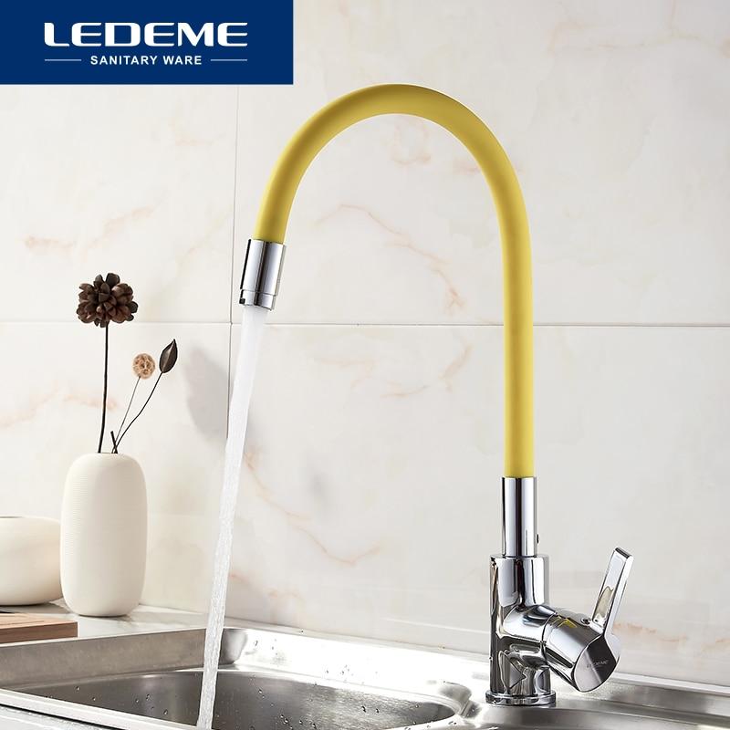 LEDEME Kitchen Faucet Pull Out Deck Mounted Single Handle Faucet Chrome Finish Cold Hot Water Mixer Kitchen Faucet L4898-4 игрушка полесье автомобиль тёма самосвал