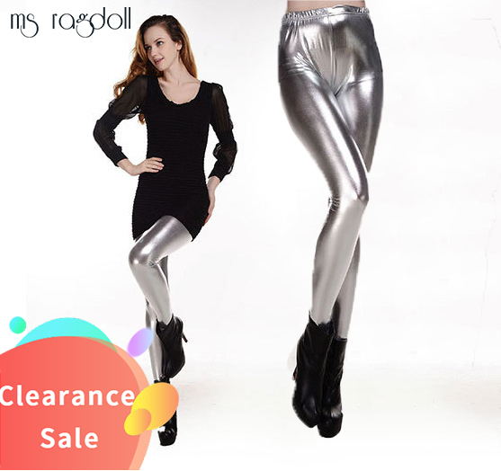 Spring Laser Stylish metallic Fitness High Waist Elastic Push Up black sexy   Leggings   Women Stretch Shiny Pants Leggins Mujer