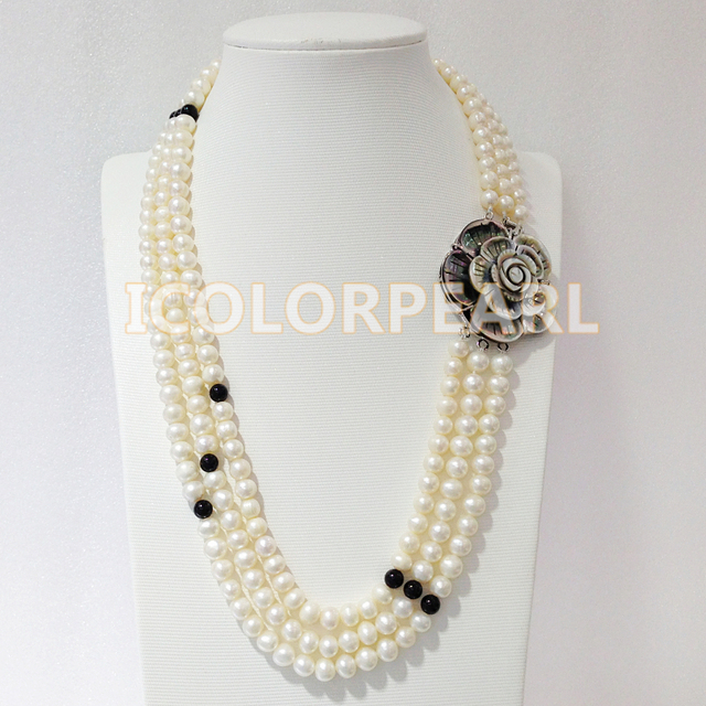 52-56-60CM/ 8-9MM Three Strand White Near Round Freshwater Pearl& Black Agate Necklace With A Big Nice SHell Carviing Clasp.