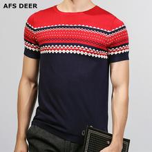 HOT SELL 2017 New Fashion Brand Men Clothes Strip short Sleeve Slim Fit T Shirt Men Cotton T-Shirt Casual T Shirts Sweater Men