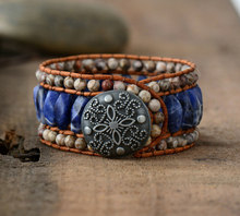 Drop shipping Boho Bracelet Unique Japser Leather Wrap Bracelets Wholesale Bohemian Weaving Stone Cuff Bracelet Femme Jewelry(China)