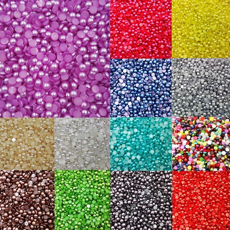 LNRRABC Sale 300 piece/lot 6MM Half Round Acrylic Imitation Flatback Pearl Beads for Jewelry Making Decoration Nail Art Phone