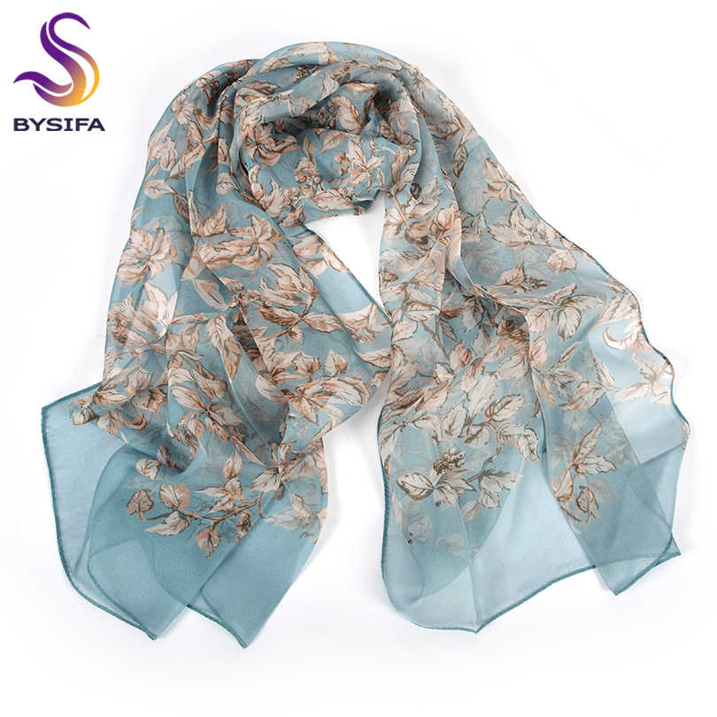 [BYSIFA] 100% Sciarpa di Chiffon di Seta di Marca Femminile Fogli di Disegno Grigio Khaki Lunghe Sciarpe Scialli Da Spiaggia Autunno Inverno Delle Donne collo Sciarpe