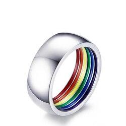 2020 Trendy pierścień tęczy wnętrze kolorowe tytanu stali biżuteria Ball Party wakacje grzywny walentynki prezent na rocznicę