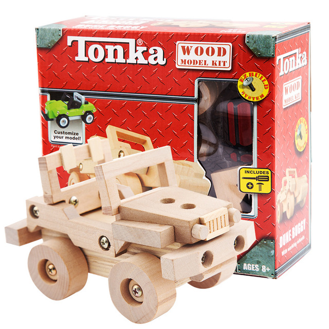 4 Gaya Kayu Meniduri Blok Motor Truk Kendaraan DIY Bangunan Model Perakitan Mainan Pendidikan untuk Anak Kreatif Hadiah