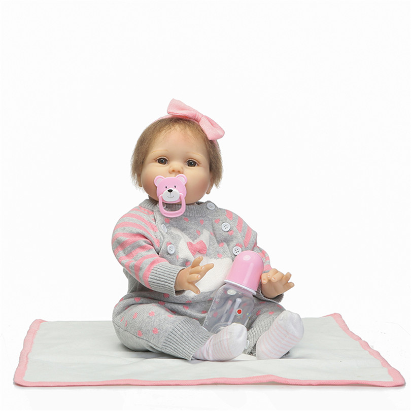 Baby Girls Realistic Fashion Dolls Soft Cotton about 53cm Bedtime Toys Doll with Milk Bottle Pacifier Blanket Dolls Cute