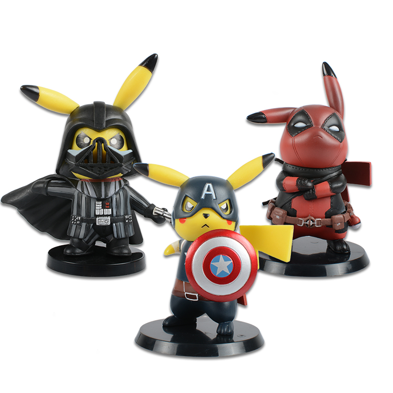 Deadpool Captain America Darth Vader Pikachu Cosplay PVC Figure Collectible Model Toy Small Size 8.5-11cm 3 Styles