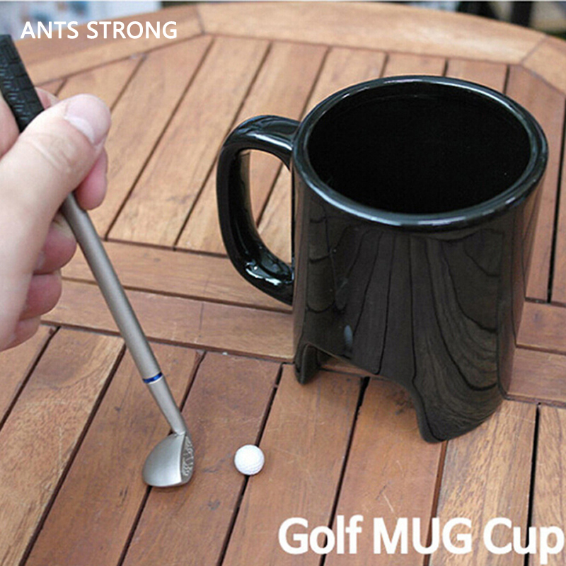 ANTS STRONG personalized coffee golf ceramic cup/funny black coffee cups office stick pen golf mug birthday gift