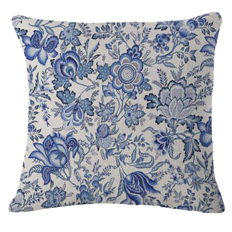 Vintage Blue Flowers Pillow Case Chinese Blue And White Porcelain Pillow Cushion Cover For Car Home Decorations Pillowcase