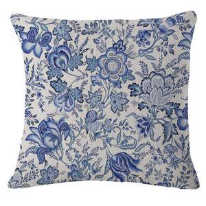 Vintage Blue Flowers Pillow Ca