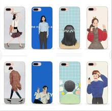 Cute Cartoon girl and boy Couple Cover For iPhone7 7plusCase back coverFor iphone 6S 6 plus Phone Cases Protector Coque Funda