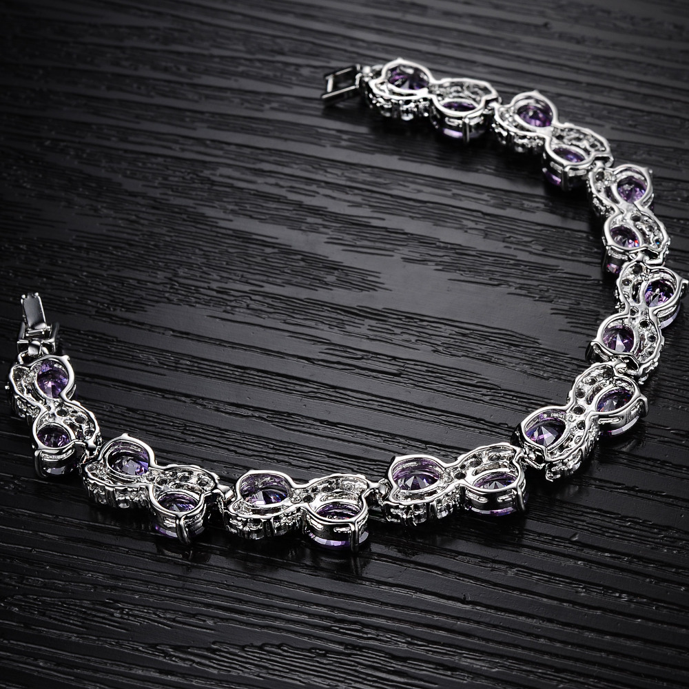 women bracelets bangles luxury purple charm bracelet fashion transparent crystal jewelry valentines day gifts wholeale ds925 in charm bracelets from