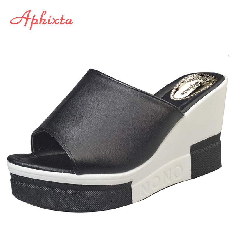 Aphixta Summer Wedge Tøfler Flower Hollow Platform High Heels Kvinder Sko Ladies Outside Basic Wedge Slipper Sandaler CN39-40