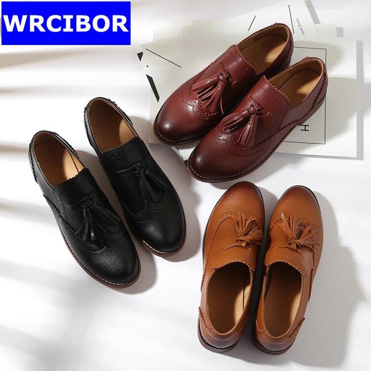 Genuine leather Oxford Shoes font b Woman b font flats Brown black 2017 Fashion Tassel Vintage