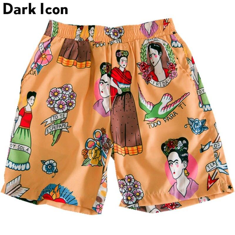 Hawaii Shorts Elastic Tropical Street Summer Dark-Icon Men