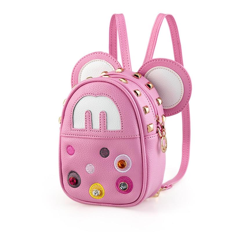 2017 children kids bags Mickey Minnie Girls backpack with Diamond rivets Princess shoulder diagonal cartoon fashion bags pink